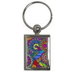 Pop Art Paisley Flowers Ornaments Multicolored Key Chains (Rectangle)