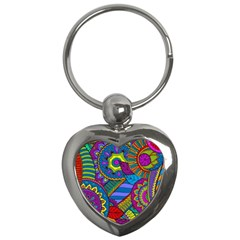 Pop Art Paisley Flowers Ornaments Multicolored Key Chains (heart)  by EDDArt