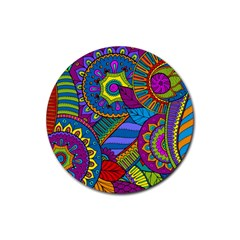 Pop Art Paisley Flowers Ornaments Multicolored Rubber Coaster (Round)