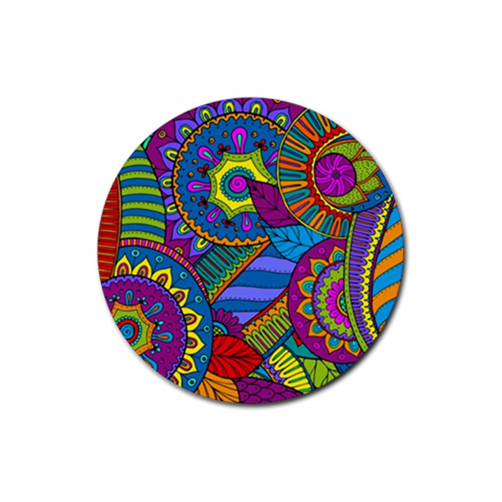 Pop Art Paisley Flowers Ornaments Multicolored Rubber Round Coaster (4 pack)