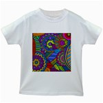 Pop Art Paisley Flowers Ornaments Multicolored Kids White T-Shirts