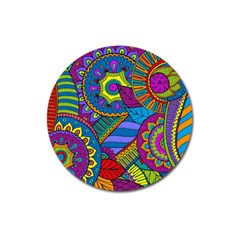 Pop Art Paisley Flowers Ornaments Multicolored Magnet 3  (round) by EDDArt
