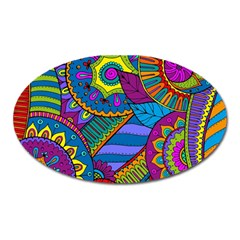 Pop Art Paisley Flowers Ornaments Multicolored Oval Magnet