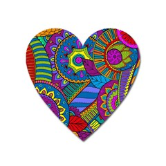 Pop Art Paisley Flowers Ornaments Multicolored Heart Magnet