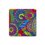 Pop Art Paisley Flowers Ornaments Multicolored Square Magnet