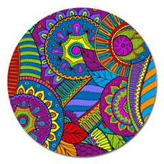 Pop Art Paisley Flowers Ornaments Multicolored Magnet 5  (round) by EDDArt