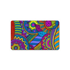 Pop Art Paisley Flowers Ornaments Multicolored Magnet (name Card) by EDDArt