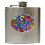 Pop Art Paisley Flowers Ornaments Multicolored Hip Flask (6 oz)