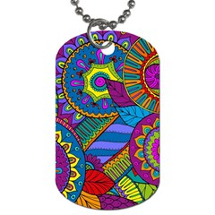Pop Art Paisley Flowers Ornaments Multicolored Dog Tag (two Sides) by EDDArt