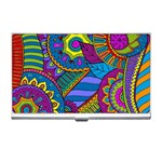 Pop Art Paisley Flowers Ornaments Multicolored Business Card Holders Front