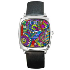 Pop Art Paisley Flowers Ornaments Multicolored Square Metal Watch by EDDArt