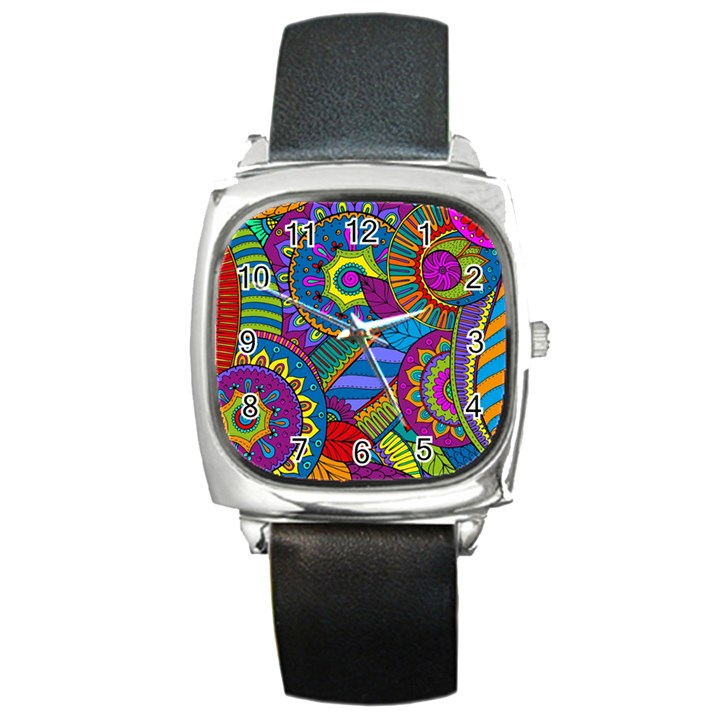 Pop Art Paisley Flowers Ornaments Multicolored Square Metal Watch