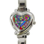 Pop Art Paisley Flowers Ornaments Multicolored Heart Italian Charm Watch