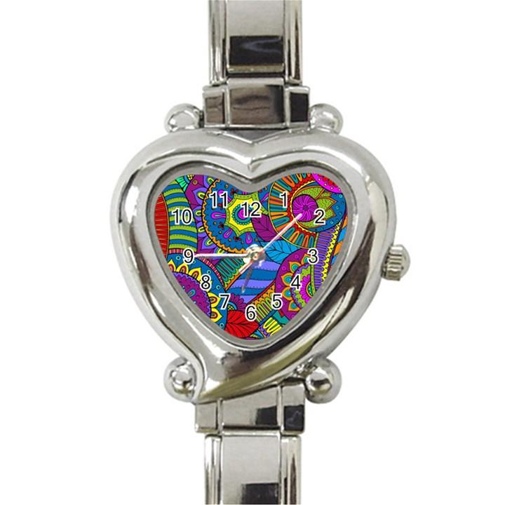 Pop Art Paisley Flowers Ornaments Multicolored Heart Italian Charm Watch