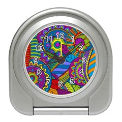 Pop Art Paisley Flowers Ornaments Multicolored Travel Alarm Clocks by EDDArt