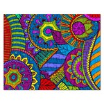 Pop Art Paisley Flowers Ornaments Multicolored Rectangular Jigsaw Puzzl