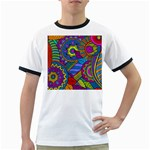 Pop Art Paisley Flowers Ornaments Multicolored Ringer T-Shirts