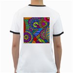 Pop Art Paisley Flowers Ornaments Multicolored Ringer T-Shirts Back