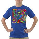 Pop Art Paisley Flowers Ornaments Multicolored Dark T-Shirt