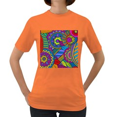 Pop Art Paisley Flowers Ornaments Multicolored Women s Dark T Shirt