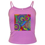 Pop Art Paisley Flowers Ornaments Multicolored Dark Spaghetti Tank