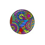 Pop Art Paisley Flowers Ornaments Multicolored Hat Clip Ball Marker (4 pack)