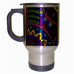 Pop Art Paisley Flowers Ornaments Multicolored Travel Mug (silver Gray)