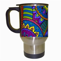 Pop Art Paisley Flowers Ornaments Multicolored Travel Mugs (White)