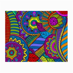 Pop Art Paisley Flowers Ornaments Multicolored Small Glasses Cloth