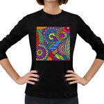 Pop Art Paisley Flowers Ornaments Multicolored Women s Long Sleeve Dark T-Shirts