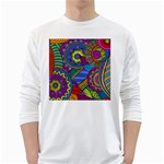 Pop Art Paisley Flowers Ornaments Multicolored White Long Sleeve T-Shirts