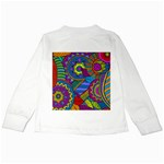 Pop Art Paisley Flowers Ornaments Multicolored Kids Long Sleeve T-Shirts Back