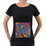 Pop Art Paisley Flowers Ornaments Multicolored Women s Loose-Fit T-Shirt (Black)