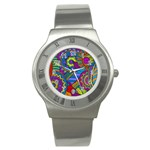 Pop Art Paisley Flowers Ornaments Multicolored Stainless Steel Watch Front