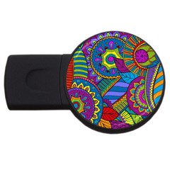 Pop Art Paisley Flowers Ornaments Multicolored Usb Flash Drive Round (4 Gb)  by EDDArt