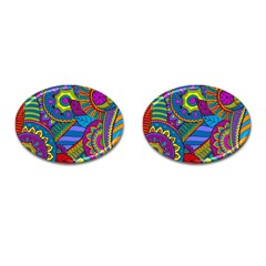 Pop Art Paisley Flowers Ornaments Multicolored Cufflinks (oval)