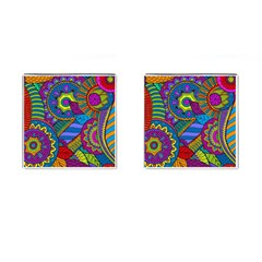 Pop Art Paisley Flowers Ornaments Multicolored Cufflinks (Square)