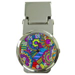 Pop Art Paisley Flowers Ornaments Multicolored Money Clip Watches