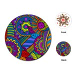 Pop Art Paisley Flowers Ornaments Multicolored Playing Cards (Round)