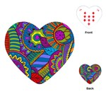 Pop Art Paisley Flowers Ornaments Multicolored Playing Cards (Heart)