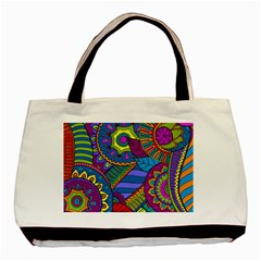 Pop Art Paisley Flowers Ornaments Multicolored Basic Tote Bag