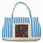 Pop Art Paisley Flowers Ornaments Multicolored Striped Blue Tote Bag