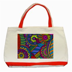 Pop Art Paisley Flowers Ornaments Multicolored Classic Tote Bag (red) by EDDArt