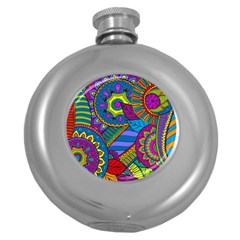 Pop Art Paisley Flowers Ornaments Multicolored Round Hip Flask (5 oz)