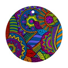 Pop Art Paisley Flowers Ornaments Multicolored Round Ornament (two Sides)  by EDDArt