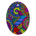 Pop Art Paisley Flowers Ornaments Multicolored Oval Ornament (Two Sides)