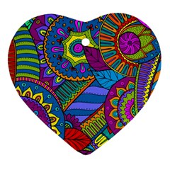 Pop Art Paisley Flowers Ornaments Multicolored Heart Ornament (2 Sides)