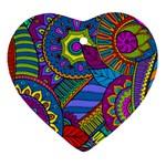 Pop Art Paisley Flowers Ornaments Multicolored Heart Ornament (2 Sides) Back