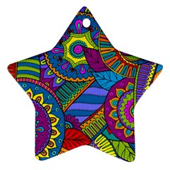 Pop Art Paisley Flowers Ornaments Multicolored Star Ornament (two Sides)  by EDDArt