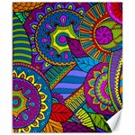 Pop Art Paisley Flowers Ornaments Multicolored Canvas 8  x 10